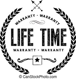 garantia, vida, ícone, selo