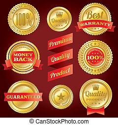 garantie, bevrediging, etiketten, kentekens, borg staan voor