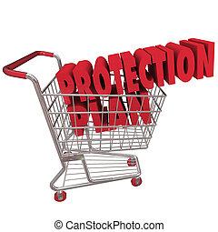 garantie, breidde uit, boodschappenwagentje, bescherming, plan, dekking
