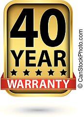 garantie, gouden, illustratie, vector, etiket, 40, jaar