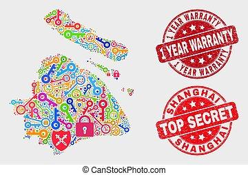 garantie, landkarte, sicher, stadt, collage, shanghai, 1, briefmarke, jahr, not