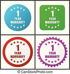 garantie, plat, 10., coloré, toile, set., icônes, année, eps, 1, vecteur, conception, internet, versions, boutons, icône, quatre, garantie