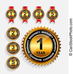 garantie, ribbon., set, goud, etiket, vector, rood