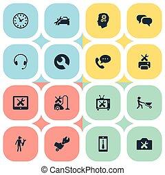 garantie, salon, set, eenvoudig, auto, steun, synonyms, illustratie, herstelling, icons., schroevendraaier, vector, intelligentie, tijd, spanner., anderen, communie