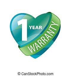 garanzia, cuore, forma, vettore, logotipo, 1-year
