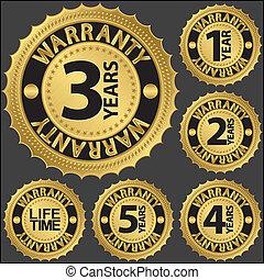 garanzia, dorato, set, vettore, etichetta