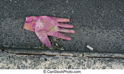 Garbage after coronavirus. Thrown out protective glove.