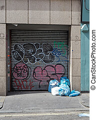 Garbage and graffiti in london