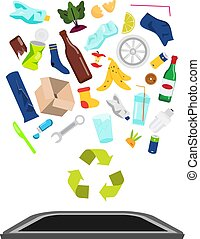Garbage and waste fall into trash bin. Plastic, glass, organic and other household rubbish utilization, recycling