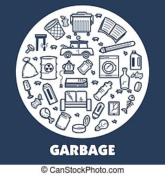 Garbage and wastes vector thin line poster - Garbage or...