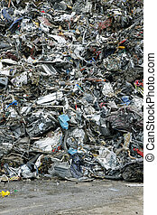 Garbage background - Massive pile of scrap metal and garbage...
