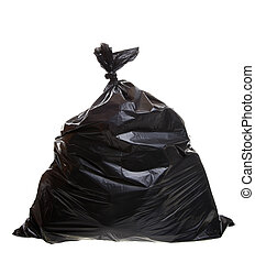 Garbage bag - black trash bag isolated on a white background