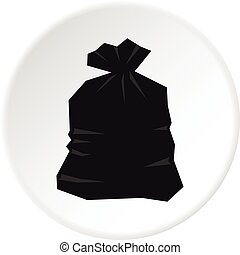 Garbage bag icon circle
