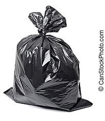 garbage bag trash waste - close up of a garbage bag on white...