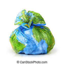 Garbage bag with the texture of the planet isolated on white background