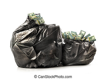 Garbage bags full of cash isolated on white background