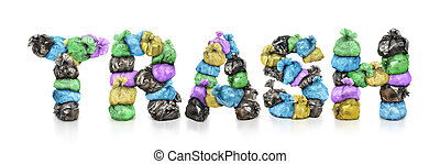 Garbage bags in form of inscription trash isolated on white background
