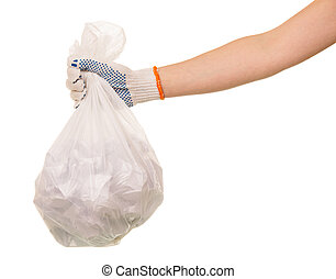 Garbage bags waste in  hand isolated on white background.