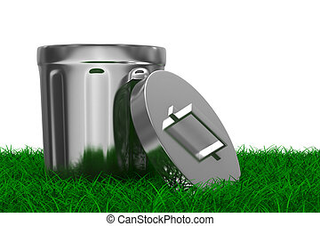 Garbage basket on grass. Isolated 3D image