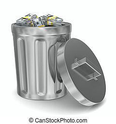 Garbage basket with dollars on white background. Isolated 3D...