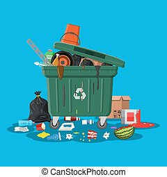 Plastic garbage bin full of trash. Overflowing garbage, food, rotten fruit, papers, containers and glass. Garbage recycling and utilization equipment. Waste management Vector illustration in flat style