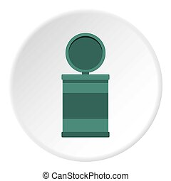 Garbage bin with opening lid icon circle