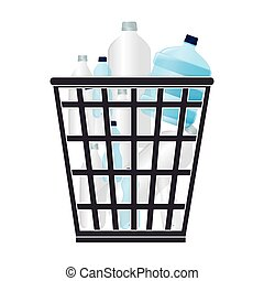 garbage bin with plastic bottles