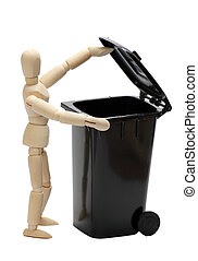garbage bin with wooden doll