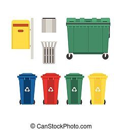 Garbage Bins and Trash Cans Set