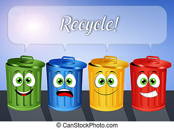 Garbage bins for recycle - illustration of Garbage bins for...