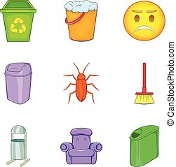 Garbage bins icon set, cartoon style