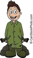 Garbage boy cartoon illustration