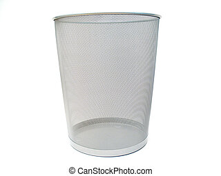 Garbage can - A silver pattered garbabe can on a white...