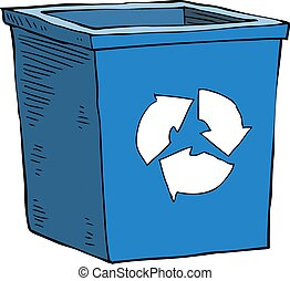 Garbage can - Cartoon blue recycle garbage can vector...