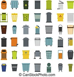 Garbage can icon set, flat style - Garbage can icon set....