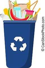 Garbage can with trash inside. Can and plastic, glass, organic waste