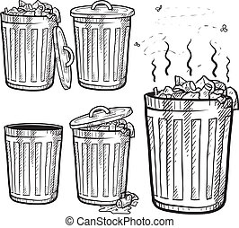Doodle style trash can sketch in vector format. Set includes garbage cans in a variety of states