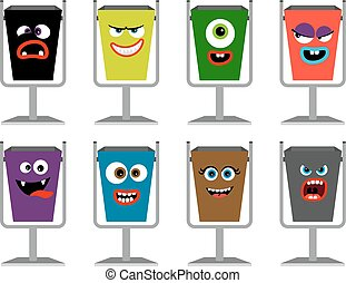 Garbage cans with faces vector illustration. Waste dustbin set with emotions and expressions