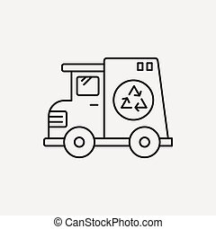 garbage car line icon