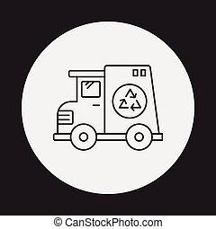 garbage car line icon