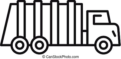 Garbage city truck icon, outline style