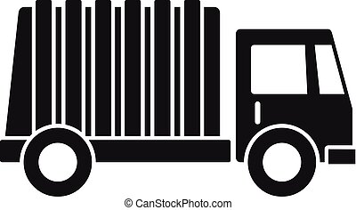 Garbage city truck icon, simple style