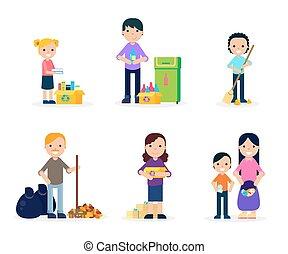 Garbage Cleaning Flat Set - Garbage cleaning flat set of...