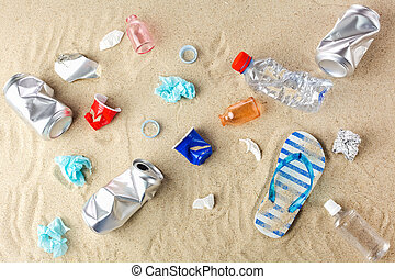 garbage collected on the beach. Top view