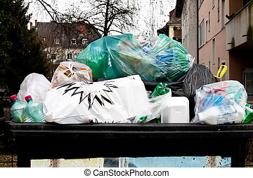 Garbage collection point for plastic waste separation