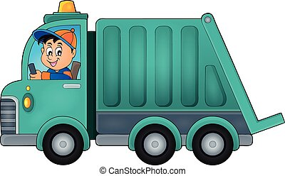 Garbage collection truck theme image 1