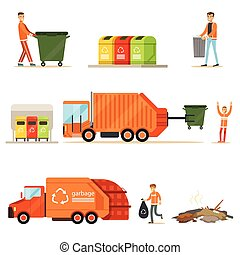 Garbage Collector At Work Series Of Illustrations With Smiling Recycling And Waste Collecting Worker