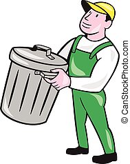 Garbage Collector Carrying Bin Cartoon