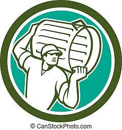 Garbage Collector Carrying Bin Circle Retro - Illustration...