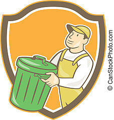 Garbage Collector Carrying Bin Shield Cartoon